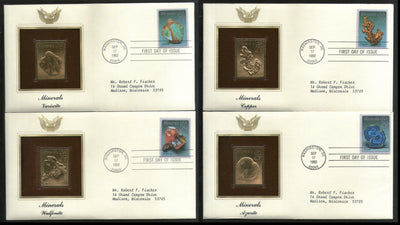 USA 1992 Minerals Copper Azurite Wulfenite Gold Replicas Cover Set of 4 # 28