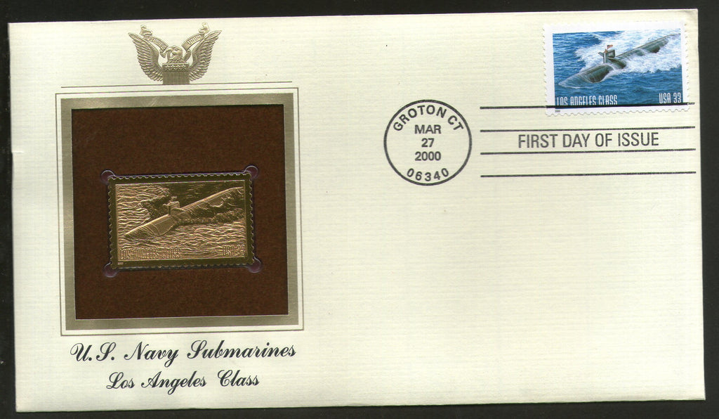 USA 2000 US Navy Submarines Military Transport Gold Replicas Cover Sc 3374 # 301 - Phil India Stamps