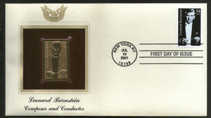 USA 2001 Leonard Bernstein Music Conductor Gold Replicas Cover Sc 3521 # 311 - Phil India Stamps