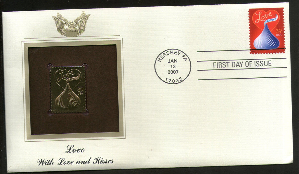 USA 2007 Greetings Special Massage Love Gold Replicas Cover Sc 4122 # 334 - Phil India Stamps