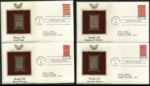 USA 1986 Navajo Art Blankets Set of 4 Gold Replicas Cover Sc 2235-38 # 039 - Phil India Stamps