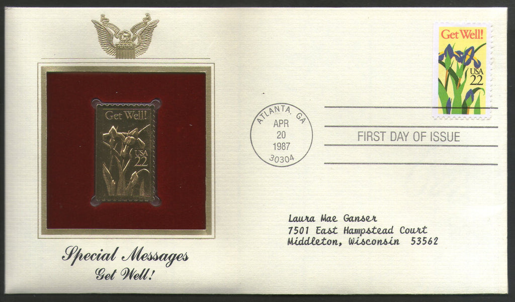 USA 1987 Greeting Special Massages Get Well Gold Replicas Cover Sc 2268 # 042 - Phil India Stamps