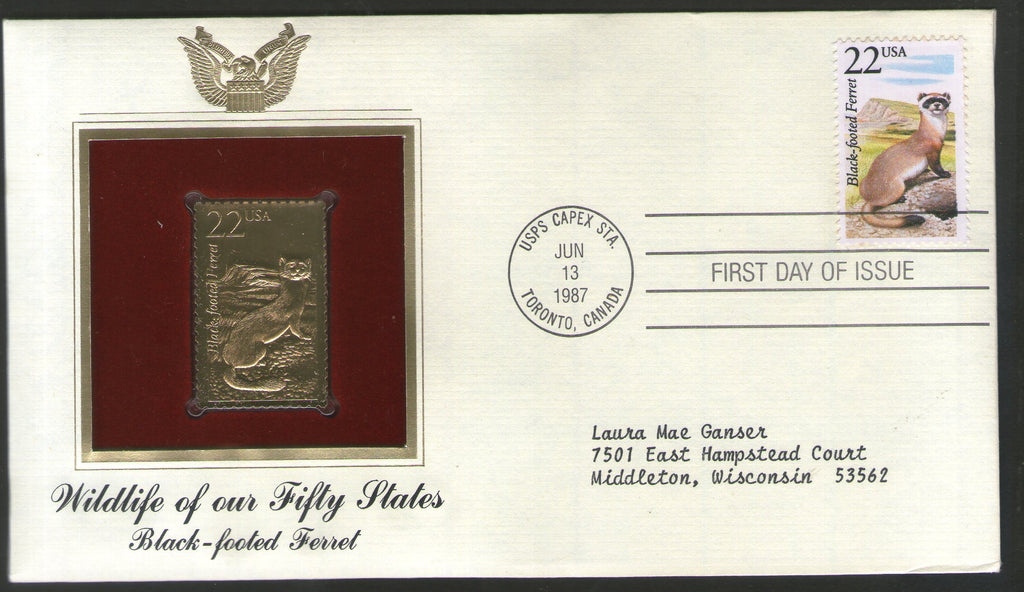 USA 1987 Black Footed Ferret Wildlife Animal Gold Replicas Cover Sc 2333 # 049 - Phil India Stamps