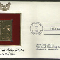 USA 1987 Sea Lion Marine Life Animal Fauna Gold Replicas Cover Sc 2329 # 052 - Phil India Stamps