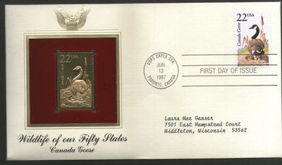 USA 1987 Canada Goose Wildlife Birds Gold Replicas Cover Sc 2334 # 056 - Phil India Stamps