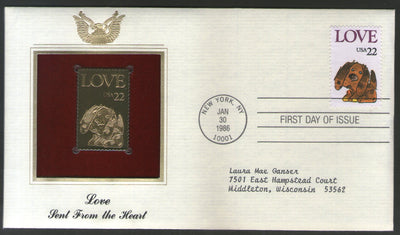USA 1986 Greeting Love Sent From the Heart Dog Gold Replicas Cover Sc 2203 # 058 - Phil India Stamps