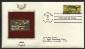 USA 1986 Fish Catfish Marine Life Animal Gold Replica Cover Sc 2209 # 062 - Phil India Stamps