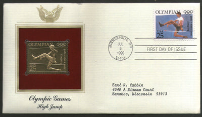 USA 1990 Olympic Games High Jump Ray Ewry Gold Replicas Cover Sc 2497 # 071 - Phil India Stamps