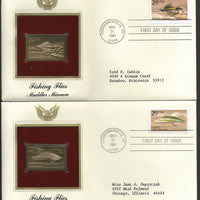 USA 1991 Fishing Flies Insect Fauna Gold Replicas Cover Set of 5 Sc 2545-49 # 097 - Phil India Stamps