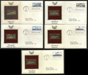USA 1989 Steam Boats Ship Transport Gold Replicas Cover Set of 5 Sc 2405-9 # 099 - Phil India Stamps