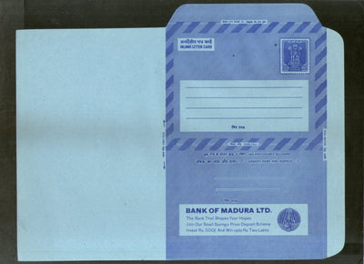 India 1976 20p Ashokan Inland Letter Card with Bank of Madura LTD Advertisement ILC MINT # 29
