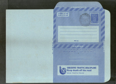 India 1976 20p Ashokan Inland Letter Card with Observe Traffic Discipline Advertisement ILC MINT # 30FD