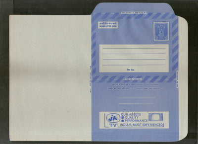 India 1977 20p Ashokan Inland Letter Card with JK TV Television Advertisement ILC MINT # 57