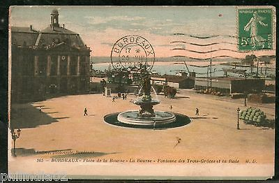 France 1919 BORDEAUX - Fountain of the Three Graces Rade View Card to India