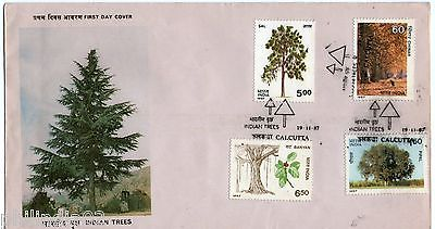 India 1987 Indian Trees Banyan Pipal Sal Chinar Flora Phila-1104-7 FDC + Folder