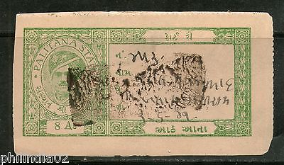 India Fiscal Palitana State 8As Green Type 9 KM 94 Court Fee Stamp Used # 4104A