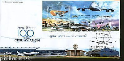 India 2012 100 Years of Civil Aviation Aeroplane Transport M/s on FDC