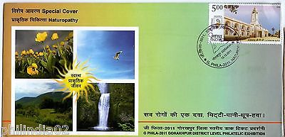 India 2011 Naturopathy Health Yogasana Waterfall Flowers Sp. Cover # 6553