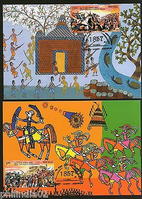 India 2007 First War of Independence Paintings Phila-2280a Set of 2 Max Cards