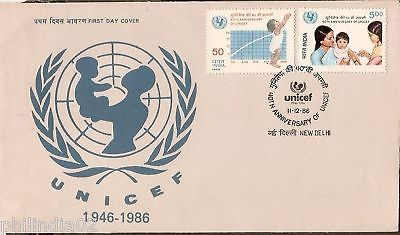 India 1986 40th Anni. of UNICEF Phila-1054-5 FDC + Folder