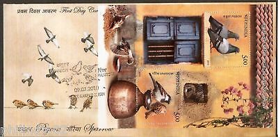 India 2010 Pigeon & Sparrow Phila-2617 M/s on FDC RARE