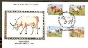 India 2000 Indigenous Breeds of Cattle Phila-1919-22 FDC