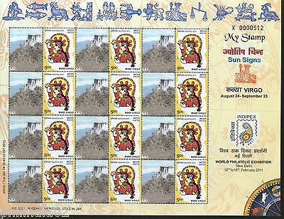 India 2011 Sun Signs - Virgo - Stakna Monastery Buddhist JSS My stamp Sheetlet