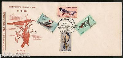 India 1968 India Birds Blue Magpie Sunbird Fauna Phila-475-79 4v FDC