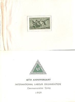 India 1959 Inter'al Labour Organisation VIP Folder RARE # 7031