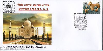 India 2012 Taj Mahal AGRAPEX-12 Architecture Terracota EMBOSSED Special Cover