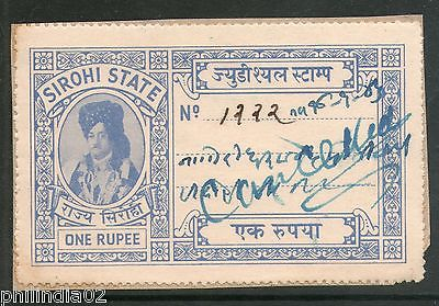 India Fiscal Sirohi State Re. 1 Type 15 KM 155 Court Fee Stamp Used # 4028D