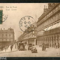 France 1920 PARIS - Rue de Rivoli Street Cars Architecture View Card to India