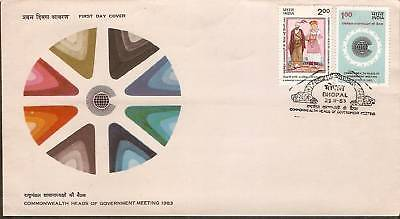 India 1983 Heads of Government Meeting Phila-952-53 FDC+Blank Folder