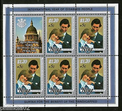 Niue 1981 Lady Diana & Prince Charls Royal Wedding Sc B54 MNH Surcharge Sheetlet