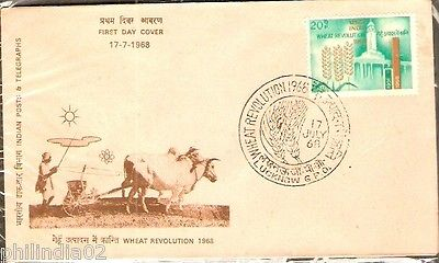 India 1968 Wheat Revolution Phila-464 FDC