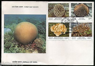 India 2001 Corals of India Marine Life Phila-1843a Set of 4v FDC RARE