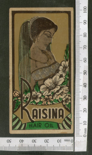 India Vintage Trade Label Raisina Essential hair Oil Label Flower Women # LBL101 - Phil India Stamps