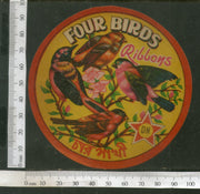 India Vintage Trade Label Four Birds Ribbons Textile Label # LBL108 - Phil India Stamps