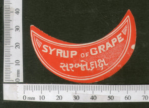 India Vintage Trade Label Grape Syrup Health Drink Medicine # LBL109 - Phil India Stamps