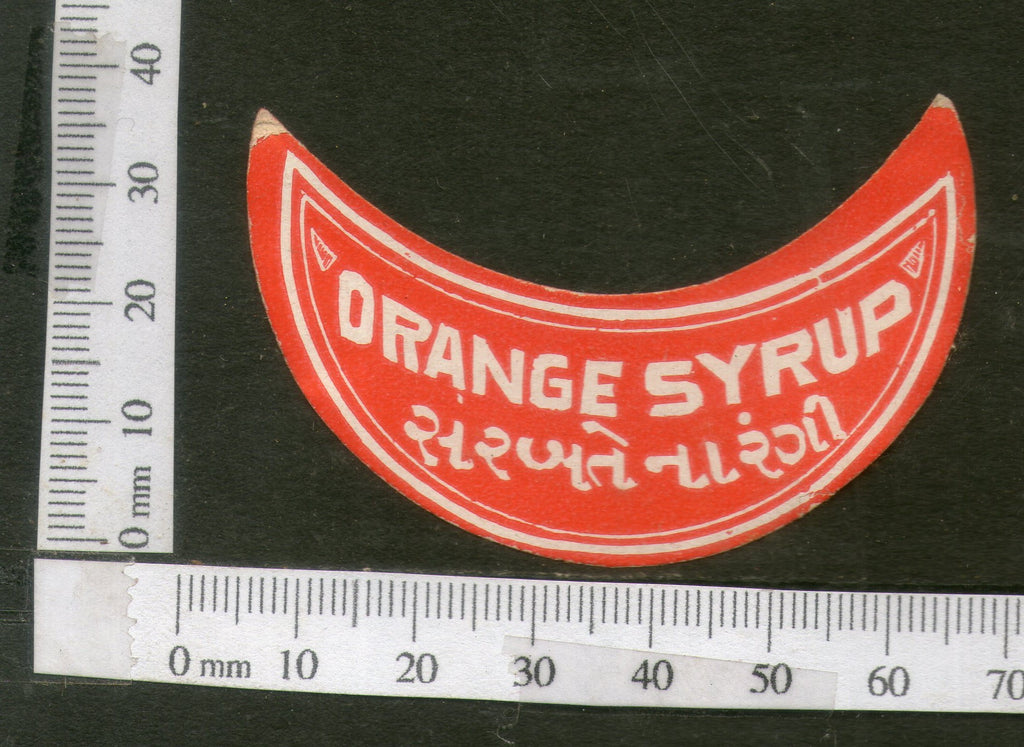 India Vintage Trade Label Orange Syrup Health Drink Medicine # LBL110 - Phil India Stamps