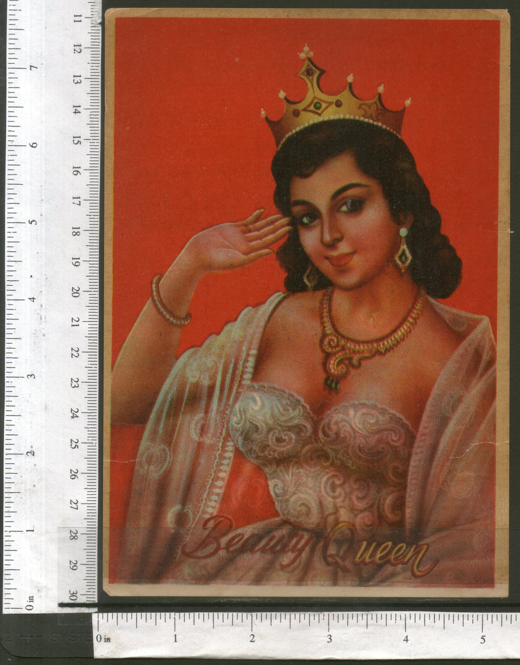 India Vintage Trade Label Beauty Queen Label Women # LBL121 - Phil India Stamps