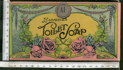 India Vintage Trade Label Hanuman Toilet Soap Label Rose Flowers # LBL125 - Phil India Stamps