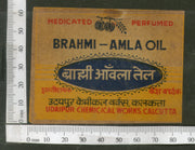 India 1950's Brahmi Amla Hair Oil Printed Vintage Label # LBL127