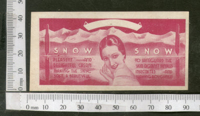 India 1950's Women Snow Cream Printed Vintage Label # LBL129