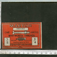 India 1960's Martor Brand Roofing Bolts & Nuts Tools Print Label # L12 - Phil India Stamps