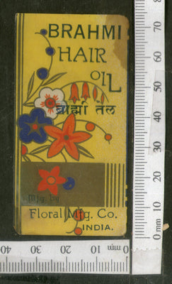 India 1950's Flower Brahmi Hair Oil Printed Vintage Label # LBL132