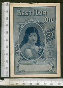 India 1950's Women Best Hair Oil Printed Vintage Label # LBL133