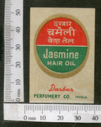 India 1950's Darbar Jasmine Hair Oil Printed Vintage Label # LBL138