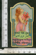 India 1950's Rose Water Women Flowers Printed Vintage Perfume Label # LBL139