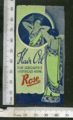India 1950's Women Rose Hair Oil Printed Vintage Label # LBL144